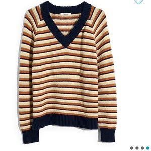 NEW • Madewell • Arden V Neck Sweater Striped Med